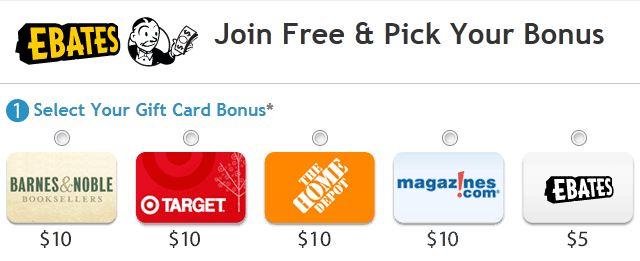 Ebates $10 gift card bonus