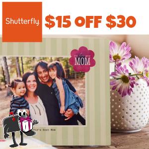 Shutterfly $15 off $30
