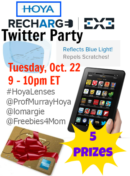 Win a Kindle Fire at the #HoyaLenses Recharge EX3 Twitter Party Oct. 22 9pm ET