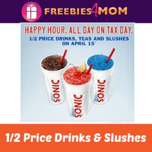 Sonic 1/2 Price Drinks & Slushes April 15