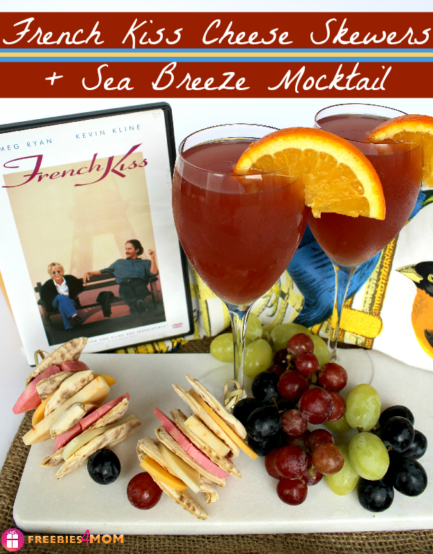 French Kiss Movie Night Snack - French Kiss Cheese Skewers and Sea Breeze Mocktail
