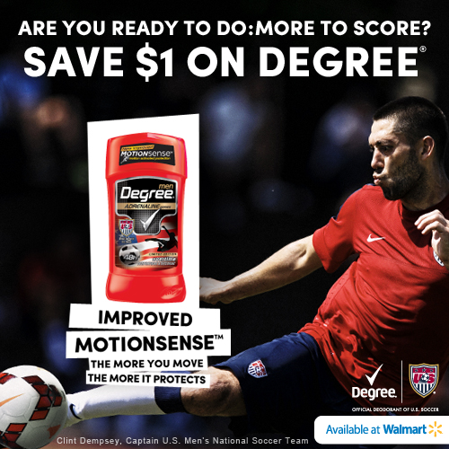 Save $1 on Degree Men Deodorant at Walmart