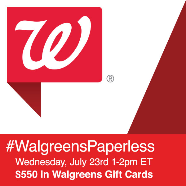 $550 in Prizes at #WalgreensPaperless Twitter Party July 23 1-2 pm ET