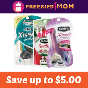 Coupons: Up to $5 off Schick Disposable Razors