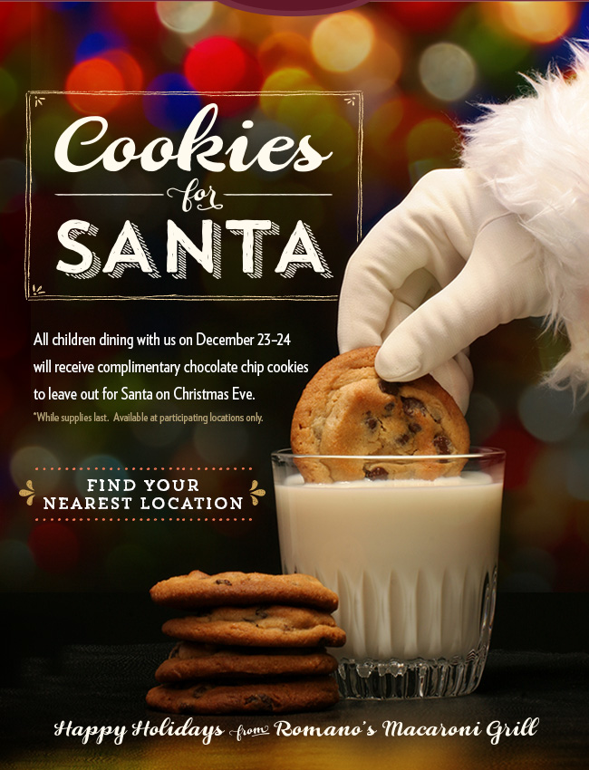 Free Cookies for Santa at Macaroni Grill