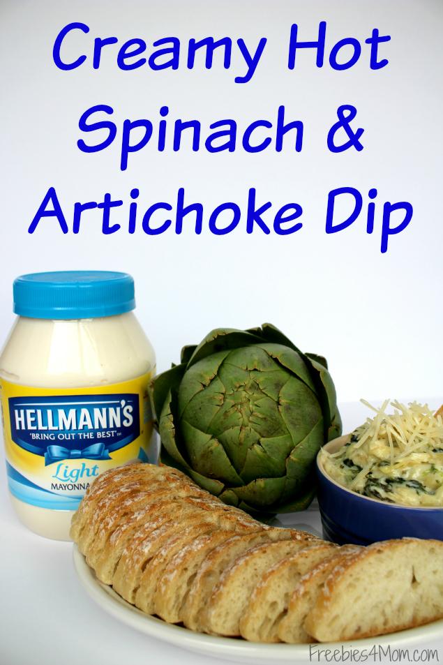 Creamy Hot Spinach & Artichoke Dip Appetizer Recipe