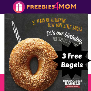 3 Free Bagels at Bruegger's Feb. 5