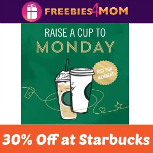 30% Off at Starbucks Today 2-5 PM
