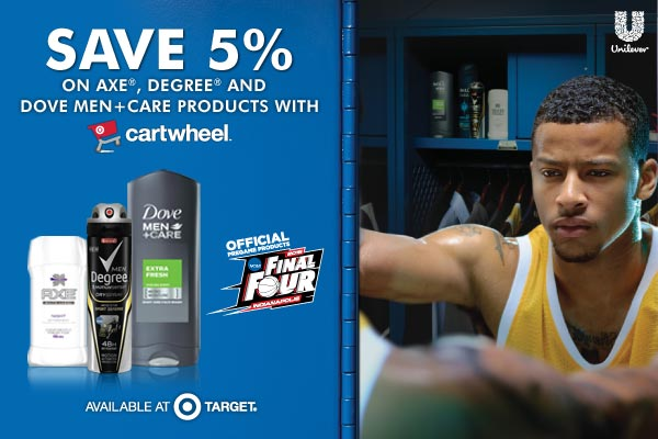 Target Cartwheel Deal Save 5% on Axe, Degree and Dove Men+Care