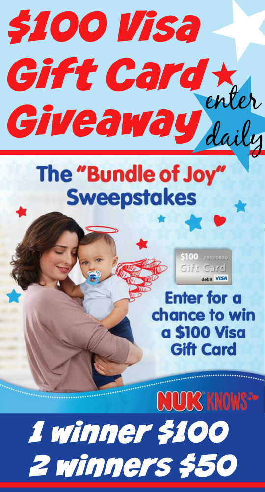 $100 Visa Gift Card Giveaway ~ $1.00 off NUK® Pacifiers #NUKKnows