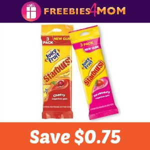 Coupon: $0.75 off Juicy Fruit Starburst Gum