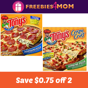 Coupon: Save $0.75 off 2 Tony's Pizza