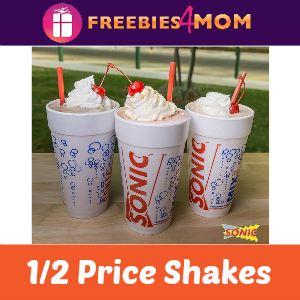 Sonic 1/2 Price Shakes at Sonic on Thursday