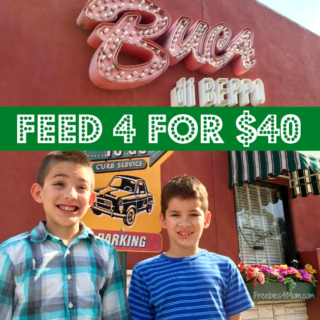Buca di Beppo Coupon ~ Feed Four for $40