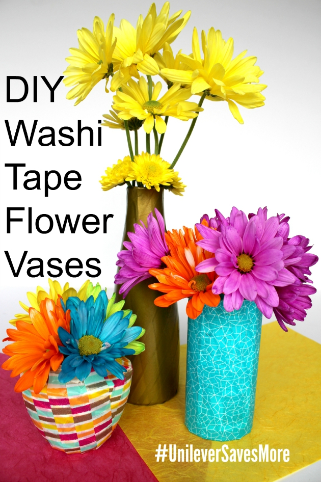 DIY Washi Tape Flower Vases #UnileverSavesMore