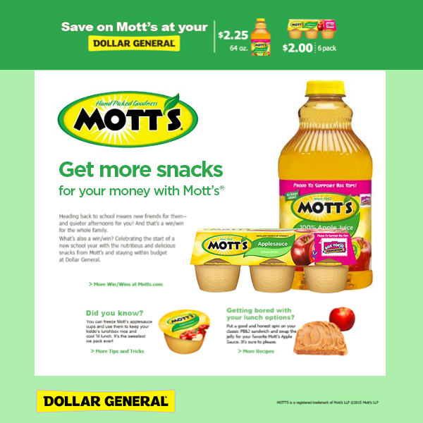 Mott's Sale at Dollar General