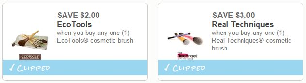Save $3.00 on Real Techniques and Save $2.00 on EcoTools costmetic brushes
