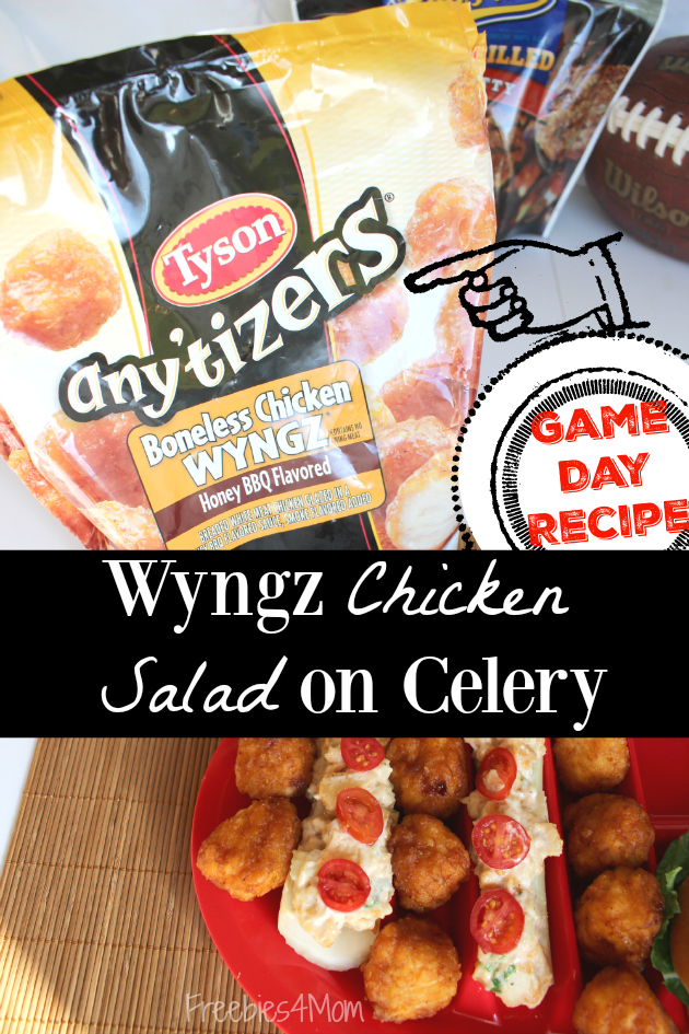 Got Tyson Any'tizers? Make my Wyngz Chicken Salad on Celery Game Day Appetizer - it's easy!