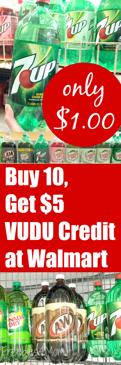 buy ten 2-liters or five 0.5L 6-packs of A&W®, 7up®, Canada Dry®, Sunkist®, Sundrop®, RC Cola®, Squirt™ for only $1.00 each at Walmart and get a $5 VUDU credit during the month of December