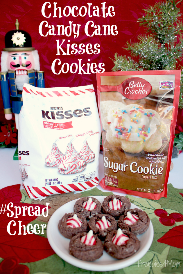 Chocolate Candy Cane Kisses Cookies ~ #SpreadCheer with Betty Crocker™ and Hershey's®