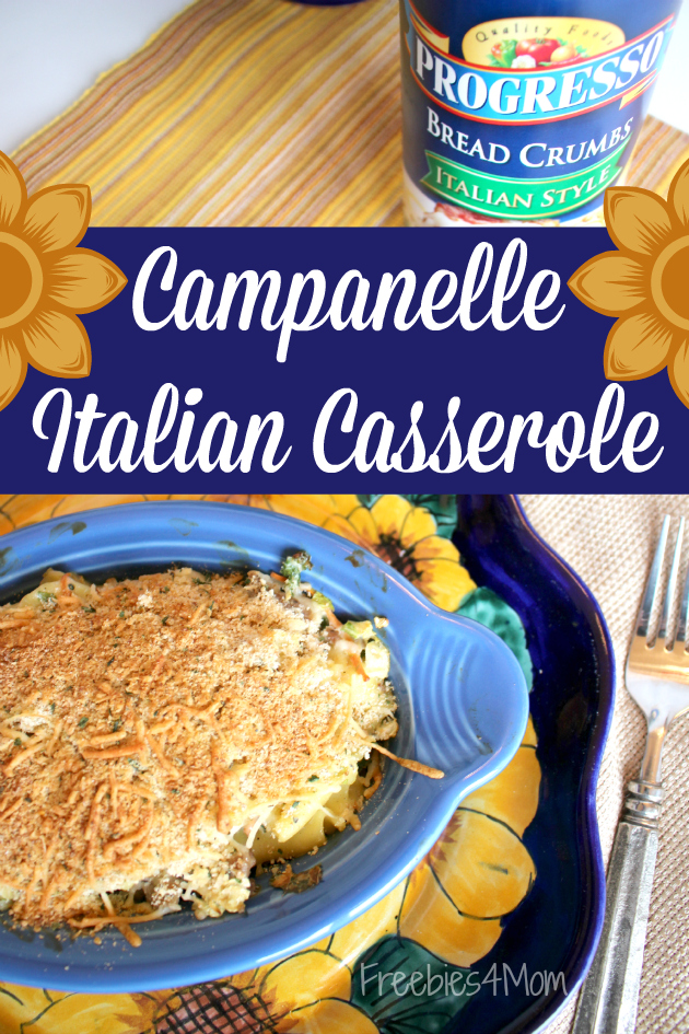 Campanelle Italian Casserole Recipe ~ comfort food with Progresso™ Bread Crumbs
