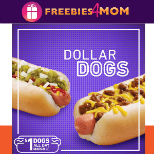 Sonic $1 Hot Dogs March 30
