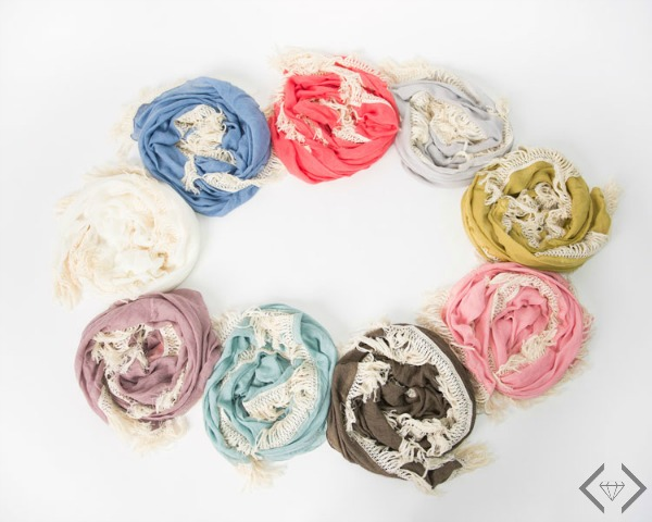 $12.95 Semi-Circle Fringe Scarf