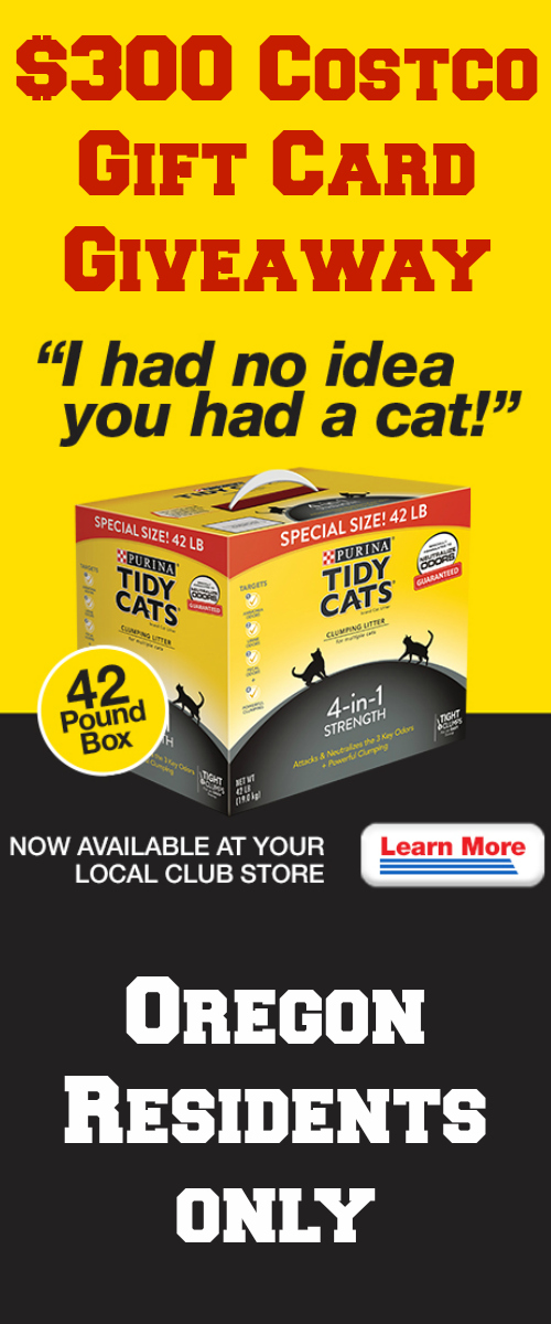 $300 Costco Gift Card Giveaway ~ Tidy Cats is #1 litter brand *Oregon Only*