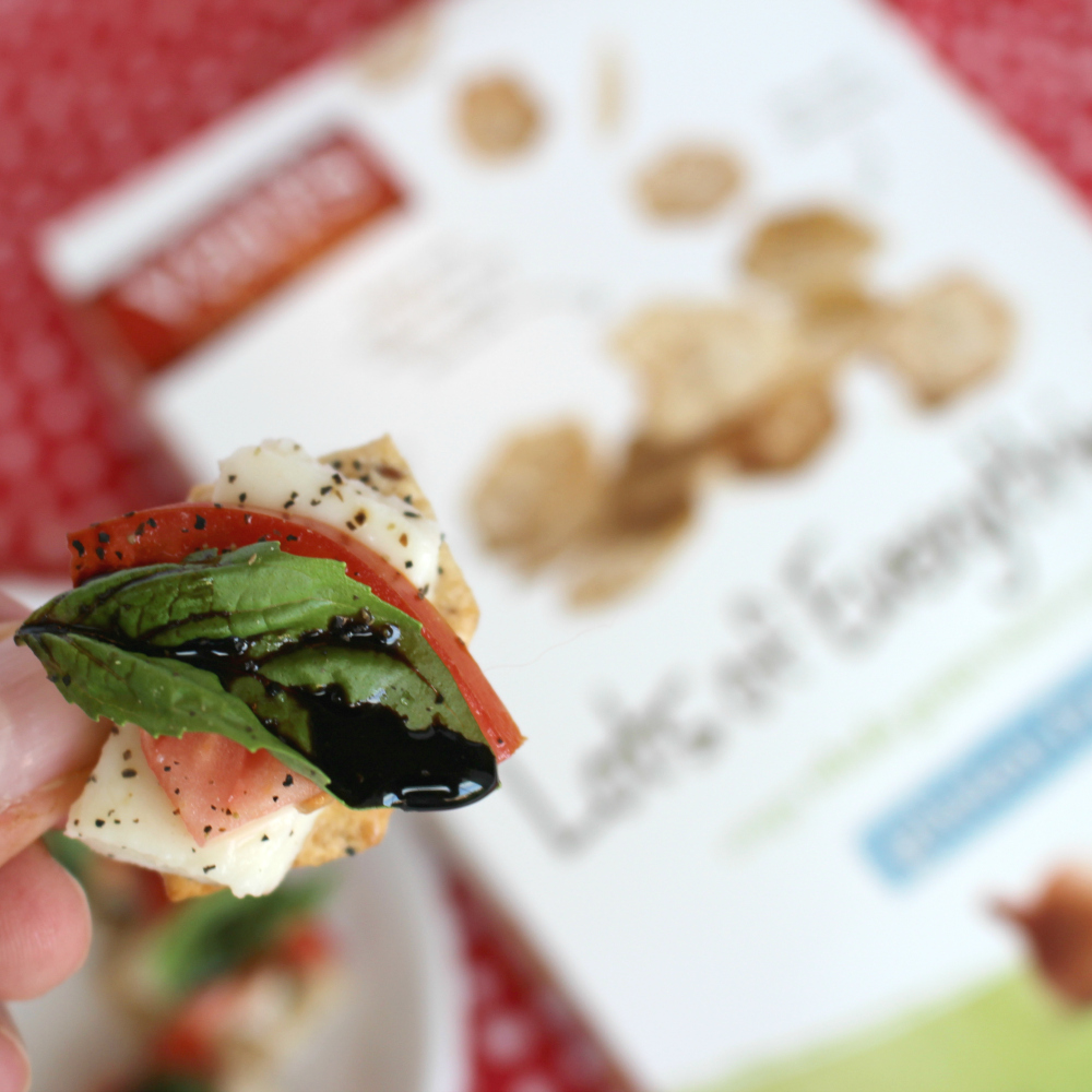 Caprese Salad on Van's® Gluten-Free Crackers