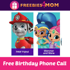 Free Birthday Phone Call from Nick Jr Characters