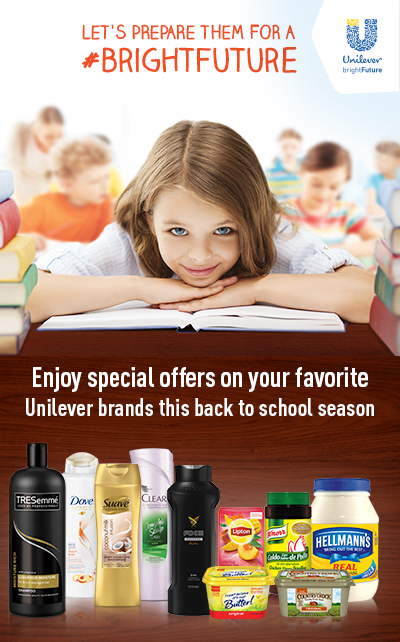 Enjoy special offers on your favorite Unilever brands this back to school season