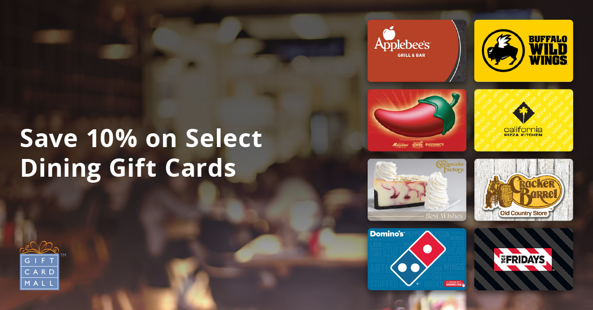 10% off Restaurant Gift Cards