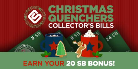 Swagbucks Christmas Quenchers Collector's Bills