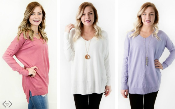 V-Neck Pullover Sweater + Free Necklace