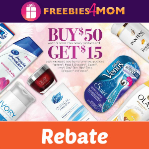 Rebate: $15 Back on $50 P&G Beauty Products