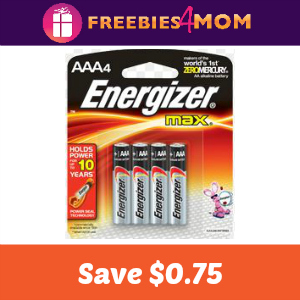 Coupon: $0.75 off one pack of Energizer batteries