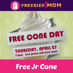 Free Jr Cone at Carvel April 27