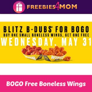 BOGO Free Boneless Buffalo Wild Wings Today