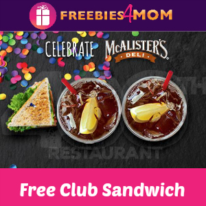 Free Club Sandwich at McAlister's Deli May 1-4
