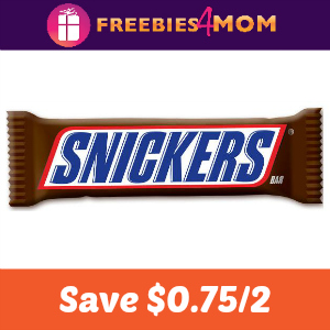 Coupon: Save $0.75 on 2 Snickers Singles Bars