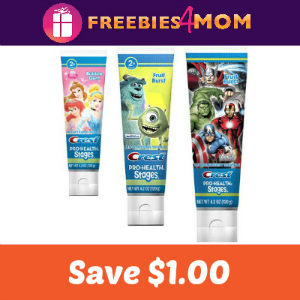 Coupon: $1 off Crest Kids Toothpaste