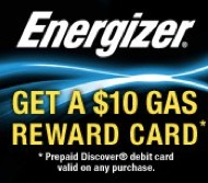 Energizer $10 Gas Reward Card