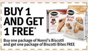 Coupon Buy One Get ONe Free Nonni's Biscotti