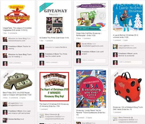 Giveaways on Pinterest