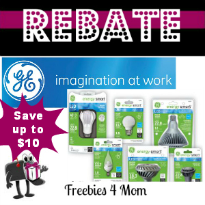 Rebate Save up to $10 on GE Energy Smart LED Lighting Products