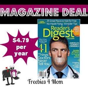Deal $4.79 for Reader's Digest Magazine