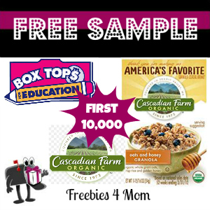 Free Sample Cascadian Farm Granola Cereal from Box Tops