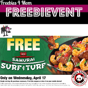 Free Samurai Surf & Turf at Panda Express April 17