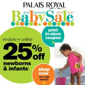 Coupon 25% off Baby Clothing at Palais Royal
