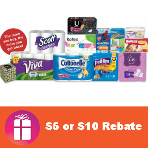 Rebate $5 or $10 Back on Kimberly-Clark Brands